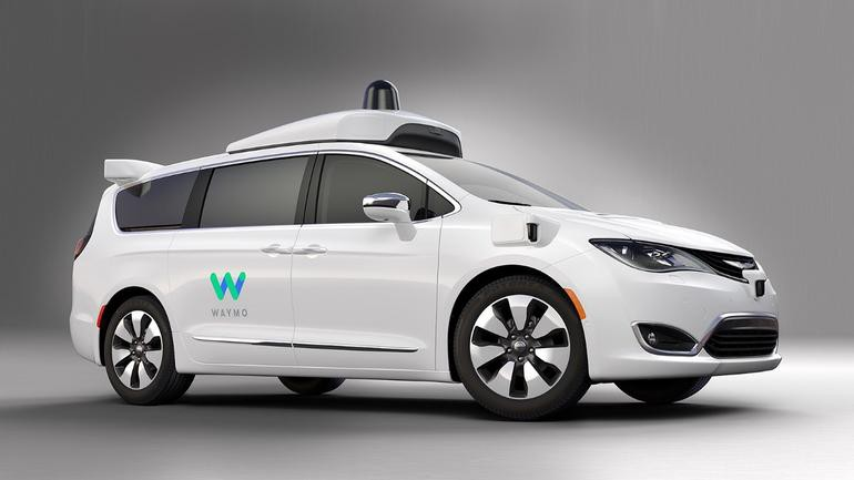 Waymo Self Driving Car On A Gray Background