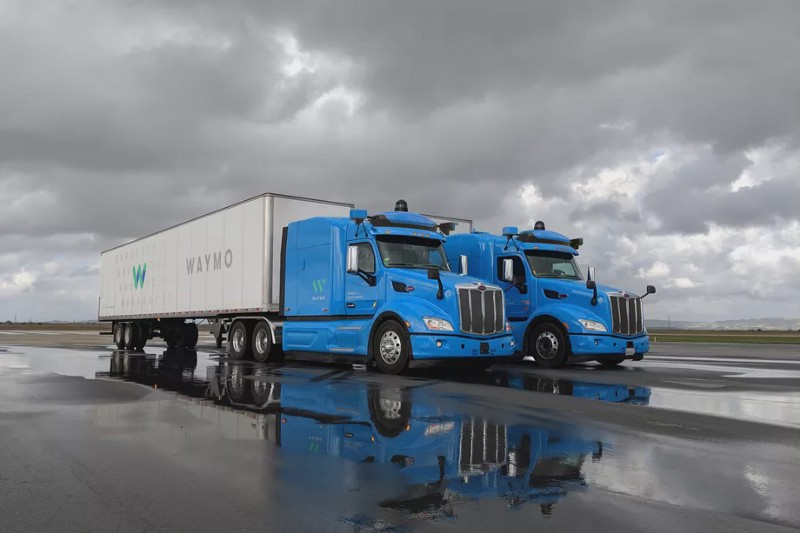 Waymo's Two Self-driving Trucks Are Parked Next To Each Other
