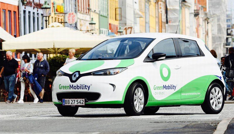 Renault Car Of Carsharing Service GreenMobility Is Parked On A Street