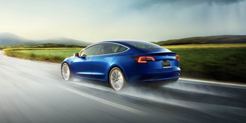 Tesla Model S Is Driving On A Highway