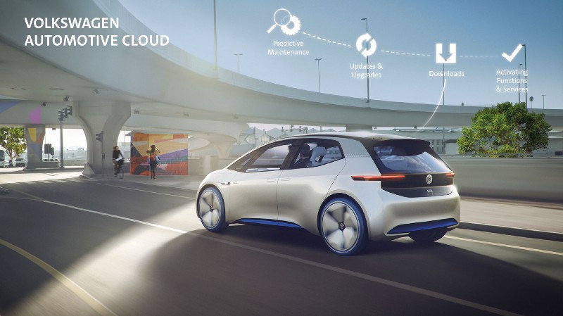 A VW Car Is Driving With Automotive Cloud Ad Next To It