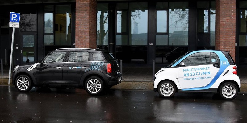 DriveNow And Car2Go Vehicles Are Parked Next To Each Other