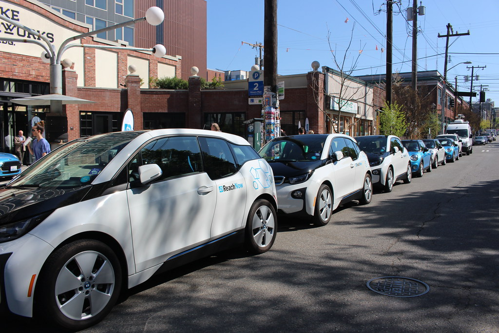 BMW's ReachNow Fleet Of Cars Parked