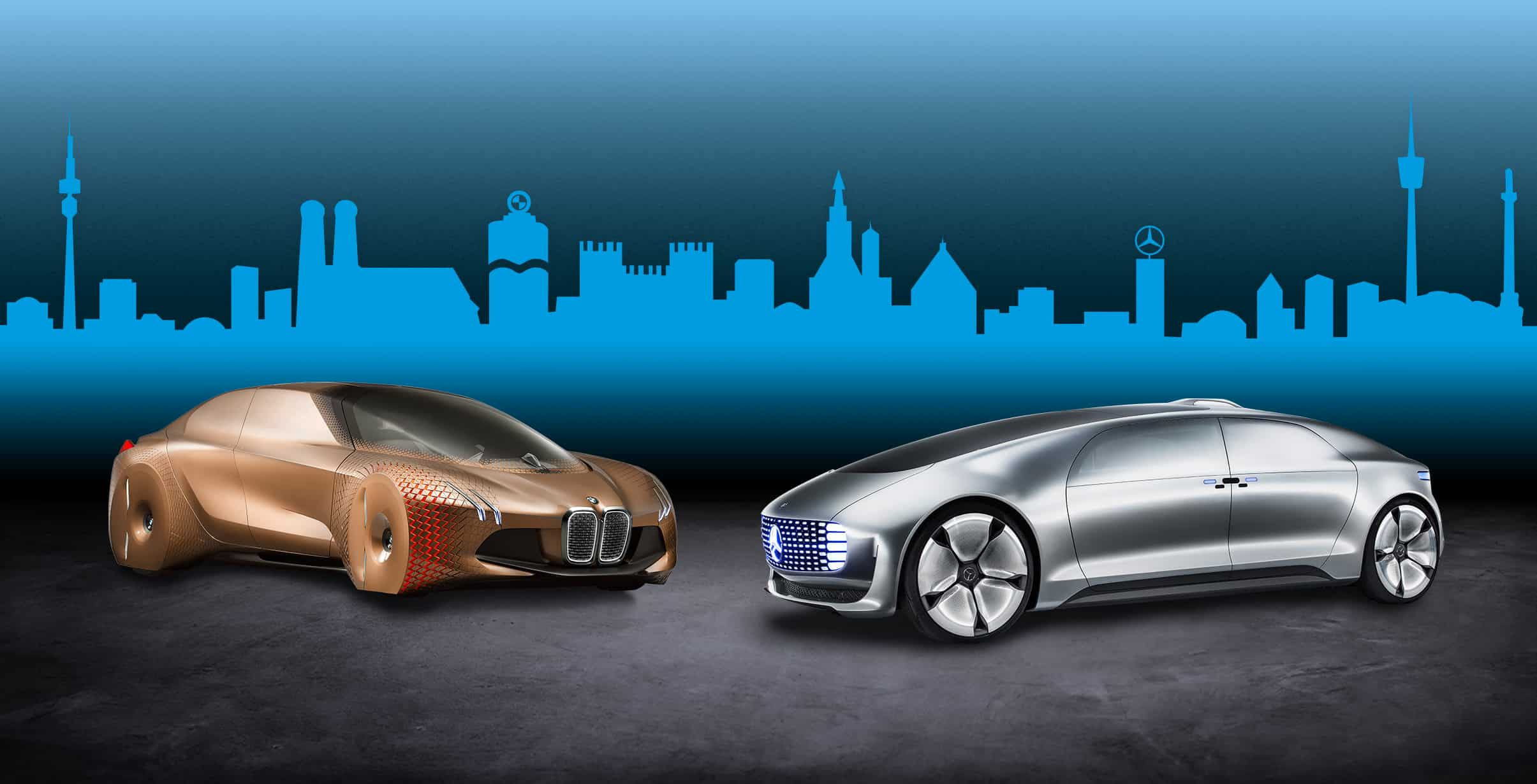 BMW And Daimler Self-driving Cars Are Parked Against Each Other