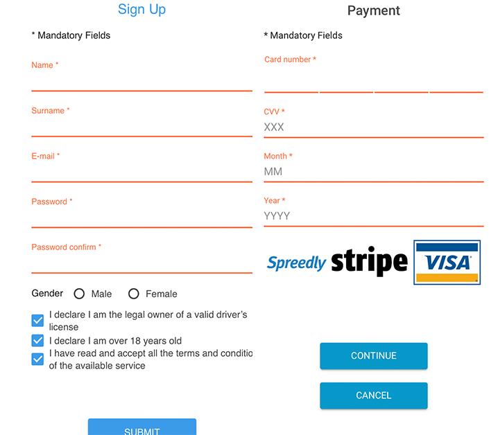 carsharing app screenshot, signup page
