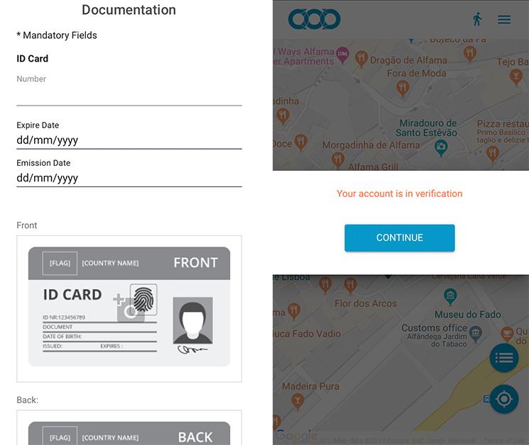carsharing app screenshot, verification page