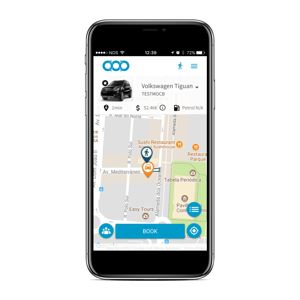 Mobiag carsharing app screenshot on iphone x