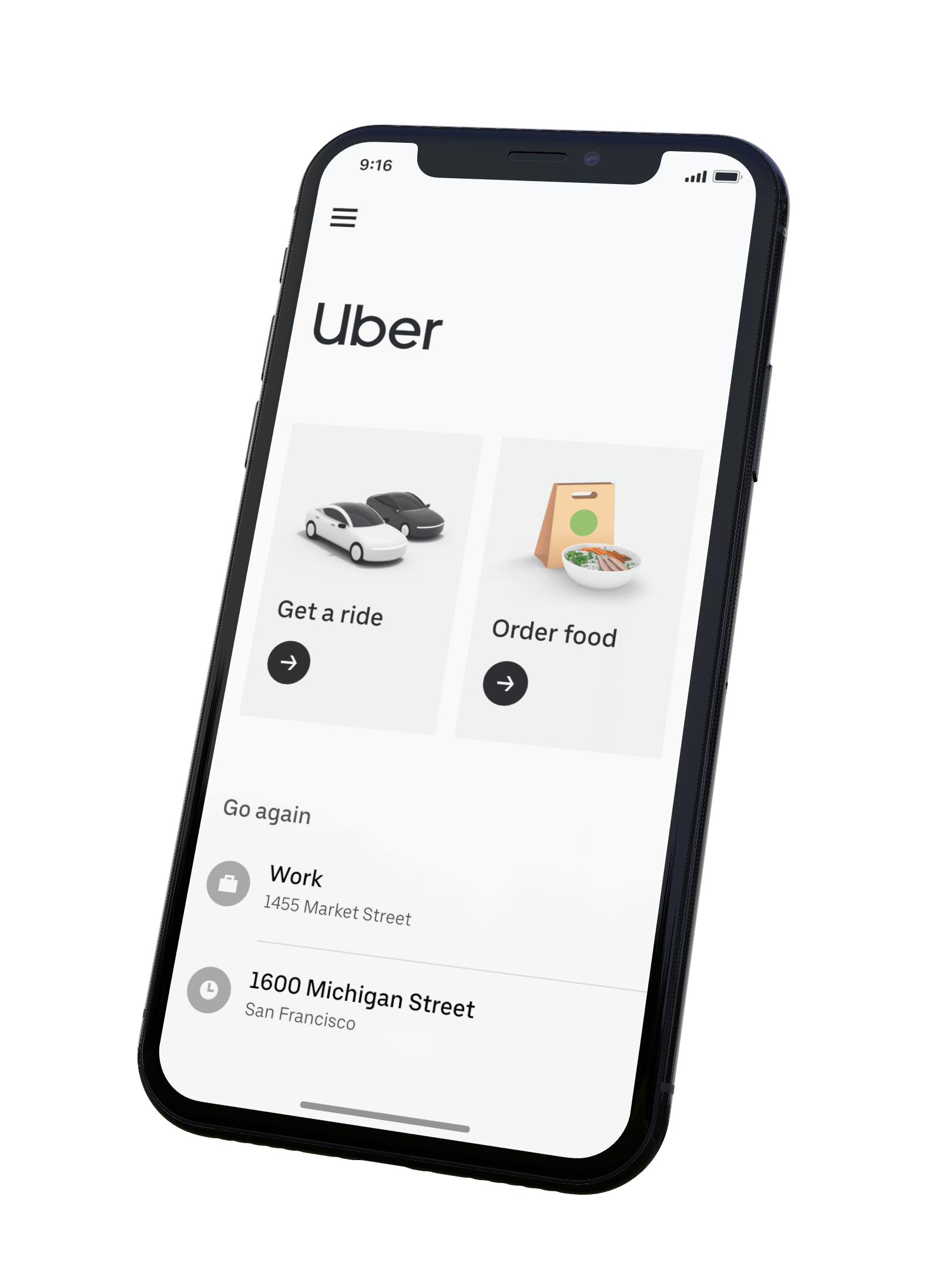 Ubers New App Home Screen