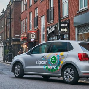 Zipcar Carsharing Vehicle On A Street